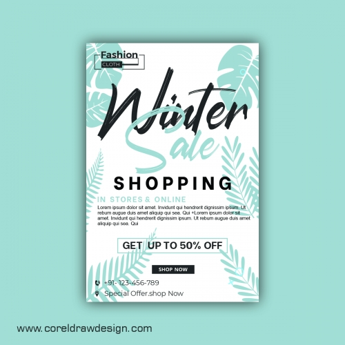 Winter Sale Banner Template Design With Discount Vector