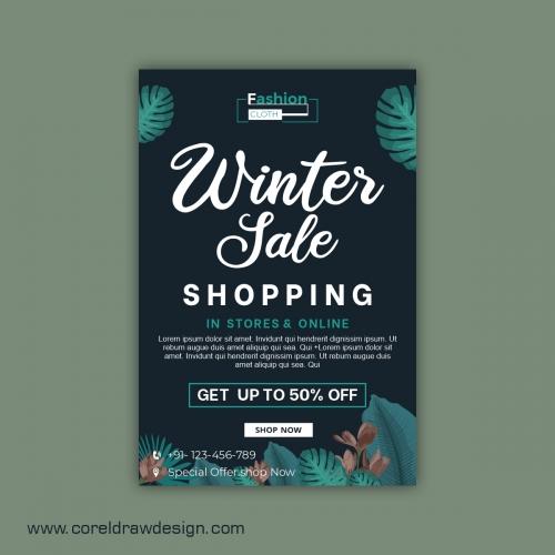 Winter Sale Banner Template Design Vector