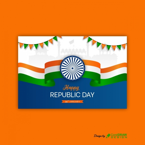 Happy Republic Day Of India 3d Flag Free Vector