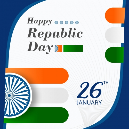 Republic Day Of India Modern Flag Design Free Vector