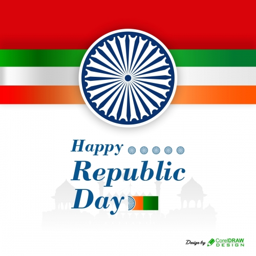 Tricolor Indian Republic Day Flag Design Free Vector