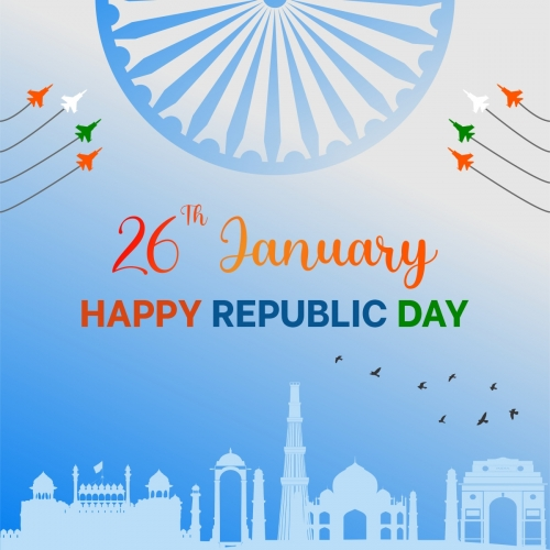 Happy Republic Day In India In Flat Style Free Vector