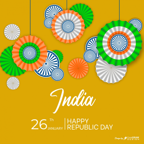 Indian Republic Day In Paper Style Template