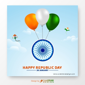 Tricolor Balloons Lift Ashok Chakra in the Sky, Republic Day Background, Free Vector