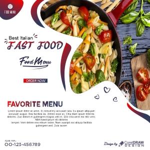 Delicious Food Menu Social Media Post Template Design