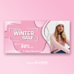 Horizontal Banner Template For Winter Sale Free Vector Design