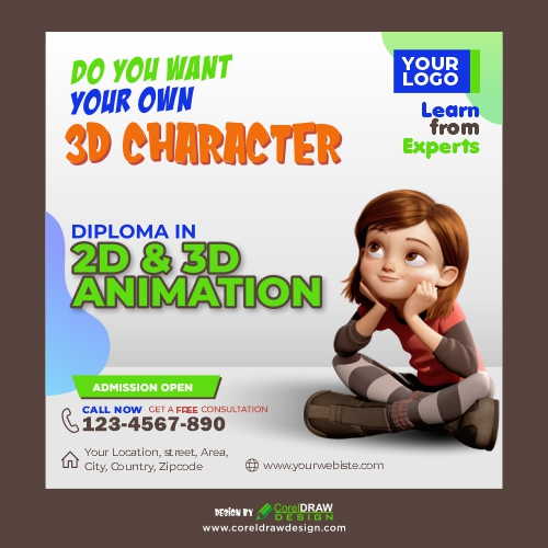 2D, 3D Animation Institute Promotional Banner, Free Vector, CDR