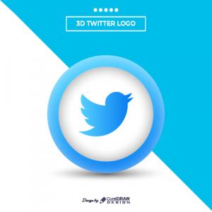 Modern 3d Twitter Logo