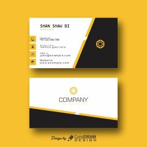 Black & Yellow Elegant Corporate Card Free Vector