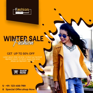 Banner Template With Winter Sales Free Vector Design