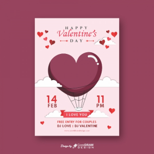 Happy Valentines Day Invitation Cupid Heart Balloon trending 2021 download free cdr file
