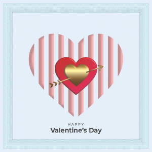 Abstract Flower Monocolor Valentines Day Card Free Vector Design