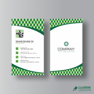 Green Business Card Triangle Shapes Free Vector