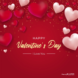 Realistic Heart Valentines Day Background Free Vector