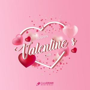 Happy Valentines Day Heart Shape Concept Sale Banner Premium Vector