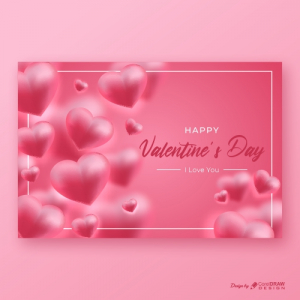 Realistic Valentines Day Heart Background Free Vector