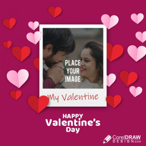 Poloride Photo Frame for Couple, Valentine Day, Free Vector Template