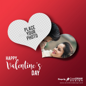 Couple Photo Frame in Heart Shape, Happy Valentine Day, Background, Free Vector
