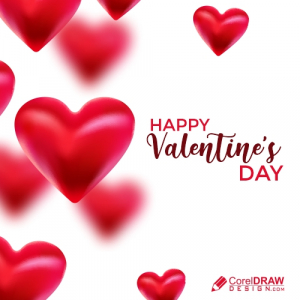 Beautiful Floating Hearts Background, Valentine Day, Free Vector