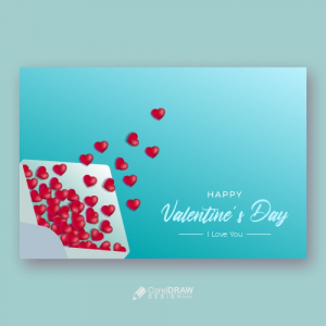 Valentine Day Concept Envelope And Red Hearts Blue Background