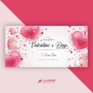 Valentines Day Hearts Concept Banner Backgraund Design