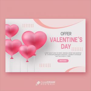 Luxury Valentines Day Offer Banner Hearts Free Premium Vector