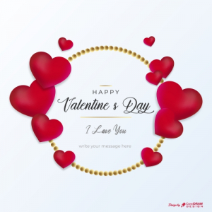 Beautiful Valentines Day Greeting With Love Hearts Free Vector