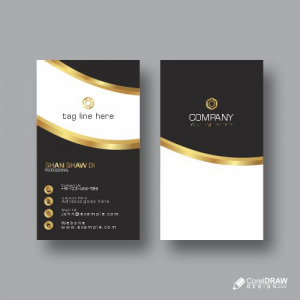 Black & Gold Business Card Free Vector