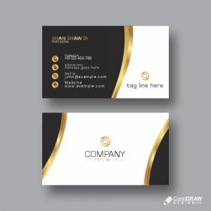 Black & Gold Business Card Free Vector Design