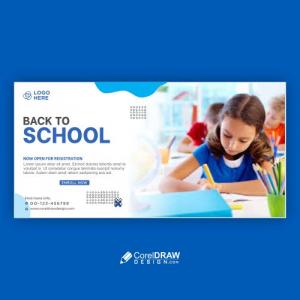 School Education Admission Facebook Timeline Cover & Web Banner Premium Vector