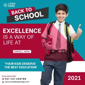 School Admission Marketing Social Media Post Or Square Flyer Template Premium Vector