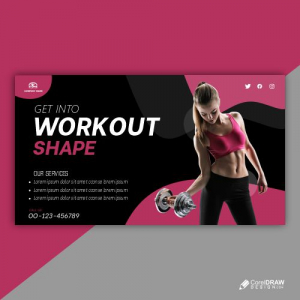 Fitness Trainer Banner Template Free Vector