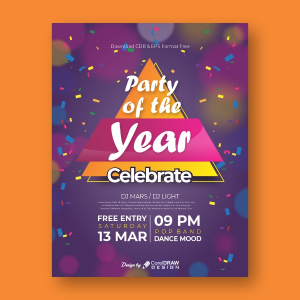 Party of the year Invitation Coreldraw 2021 Trending 2021 Free Template Download
