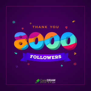 8000 or 8K Followers Thank You Colorful Celebration Background, Free Vector