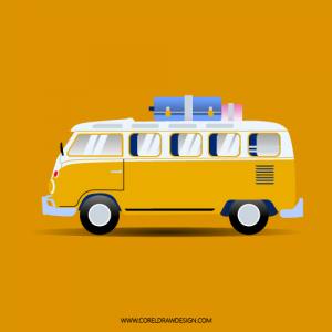 Abstract Volkswagen Mini Bus Vector