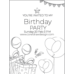 Black And White Birthday Invitation Balloon Party Date Golden Wishing Trending 2021 CDR File Free Download
