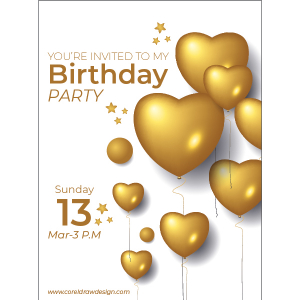 Birthday Invitation Balloon Party Date Golden Wishing Trending 2021 CDR File Free Download