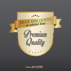 Huge Discount Premium Quality Golden Badge Free Vector AI EPS Download Trending 2021 Free