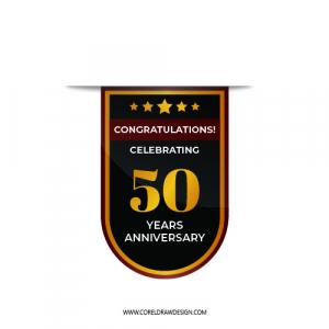 50th Anniversary Badge Vector-