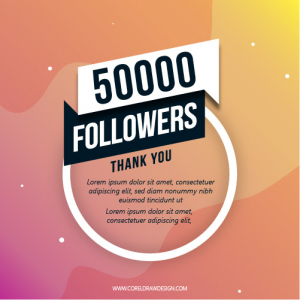 50K followers thank you creative with script