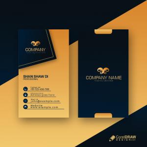 Dark Golden Color Creative Business Card Free Premium Vector