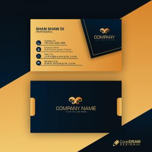 Dark Golden Color Creative Business Card Premium Vector