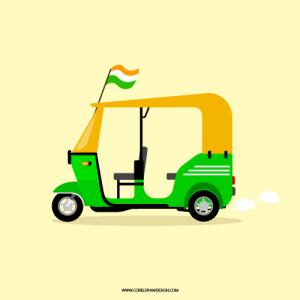 Abstract Indian Auto Rickshaw Cartoon Clipart Vector