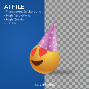 Heart Eye Smiley Face With Hat Emoji AI & EPS File Download Trending 2021 Free Template