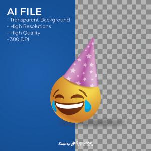 Laugh Hat Emoji AI & EPS File Download Trending 2021 Free Template