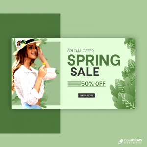 Horizontal Banner Template For Spring Fashion Sale Premium Vector