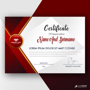 Modern Certificate Of Achievement Cdr Template Free Vector