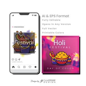 Holi Hand Drawn Mobile Mockup AI & EPS File Trending Vector Art 2021 Free Download