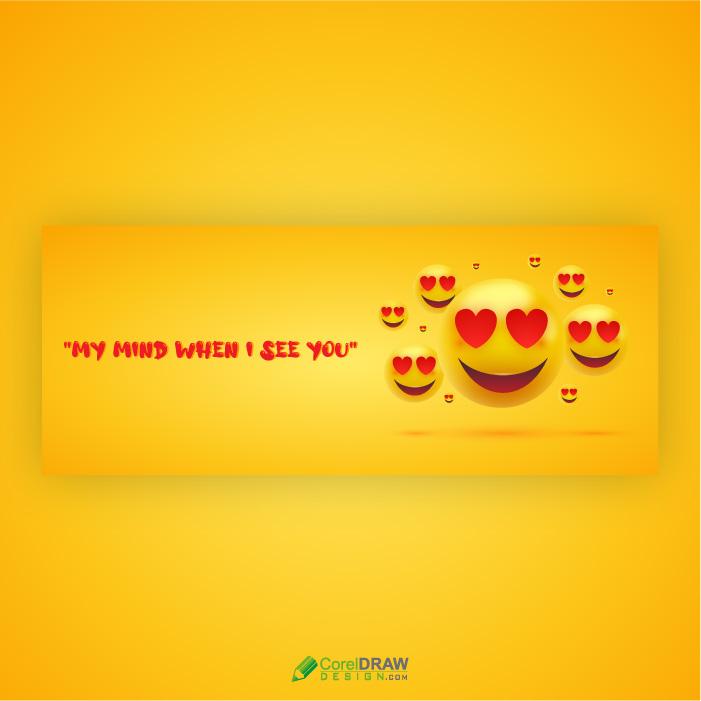 3D Love Reaction Emoji Banner Vector