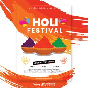 Happy Holi Festival Invitational Flyer Download Free Template Trending 2021 Vector